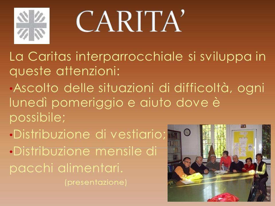 CARITA' La Caritas interparrocchiale si sviluppa in queste attenzioni: