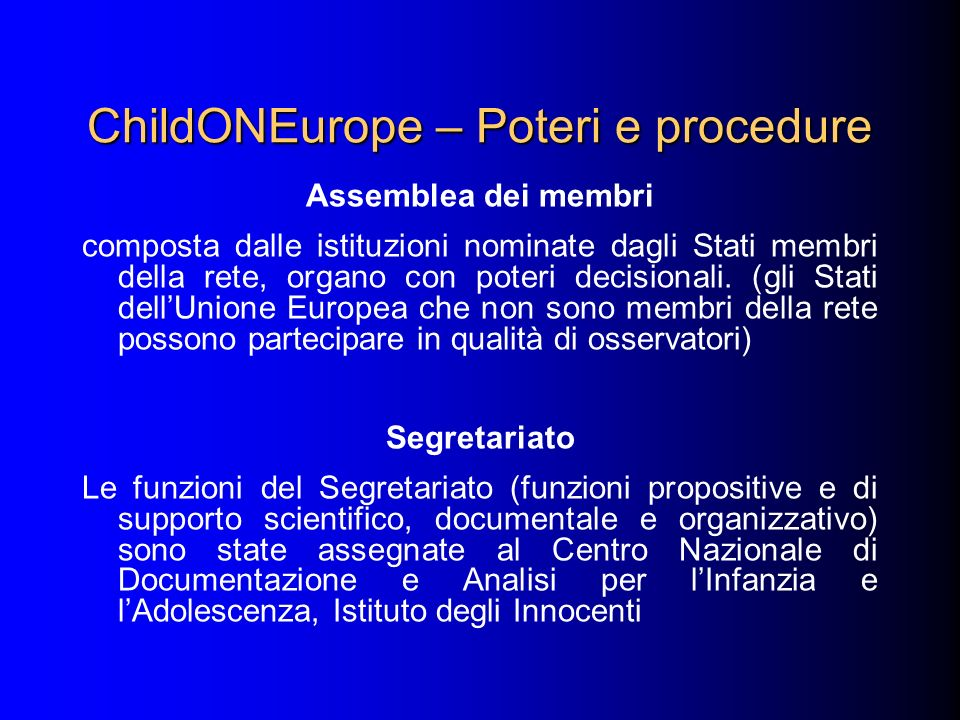 ChildONEurope – Poteri e procedure