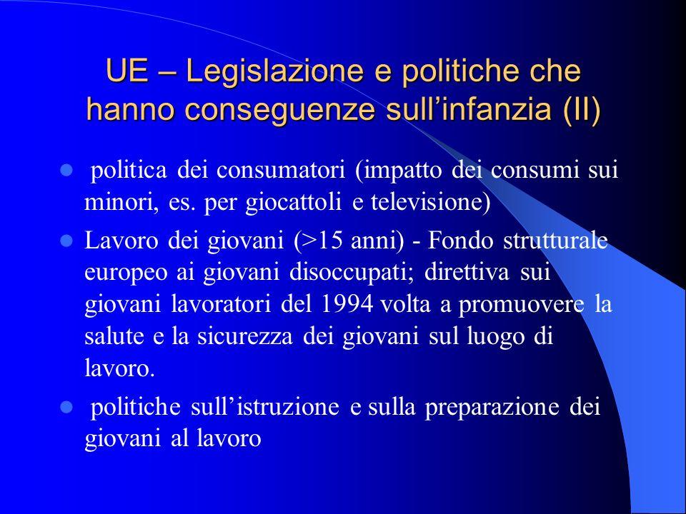 UE – Legislazione e politiche che hanno conseguenze sull'infanzia (II)