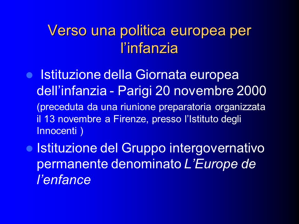Verso una politica europea per l'infanzia
