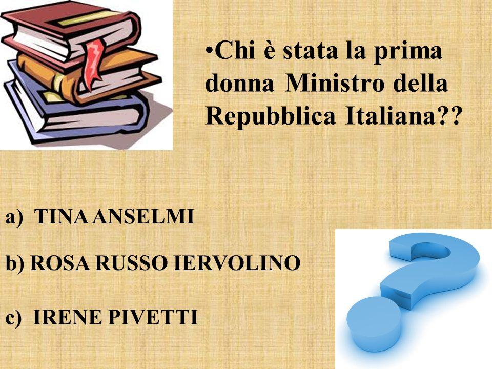 Chi è stata la prima donna Ministro della Repubblica Italiana
