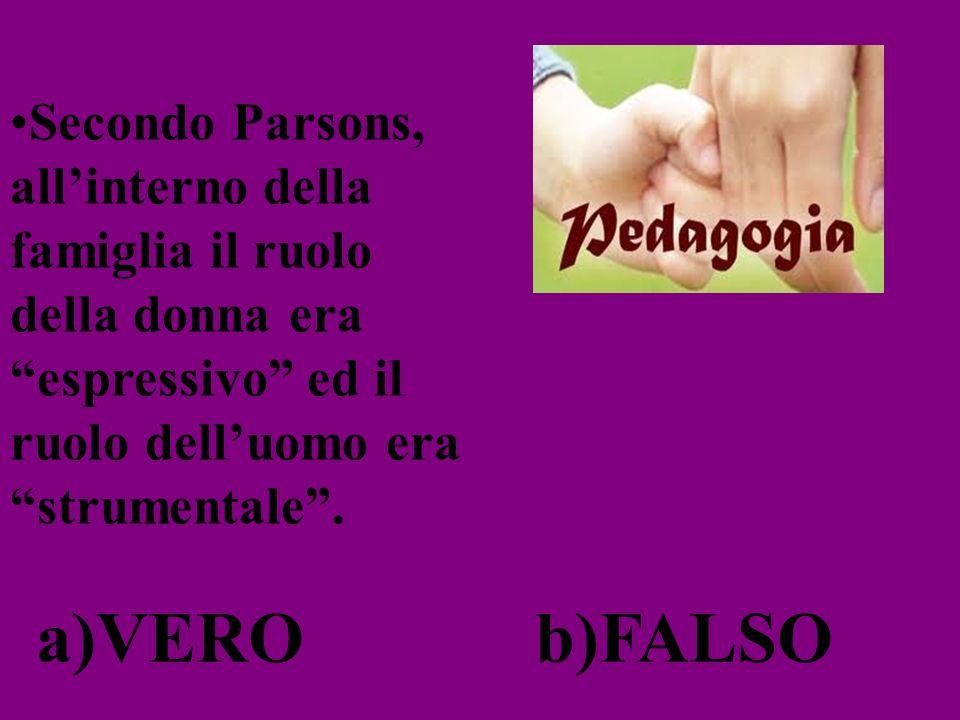 Secondo Parsons, all'interno della famiglia il ruolo della donna era espressivo ed il ruolo dell'uomo era strumentale .
