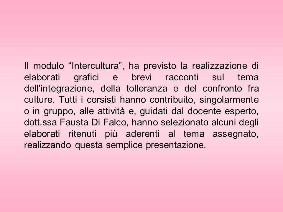 Il modulo Intercultura , ha previsto la realizzazione di elaborati grafici e brevi racconti sul tema dell'integrazione, della tolleranza e del confronto fra culture.