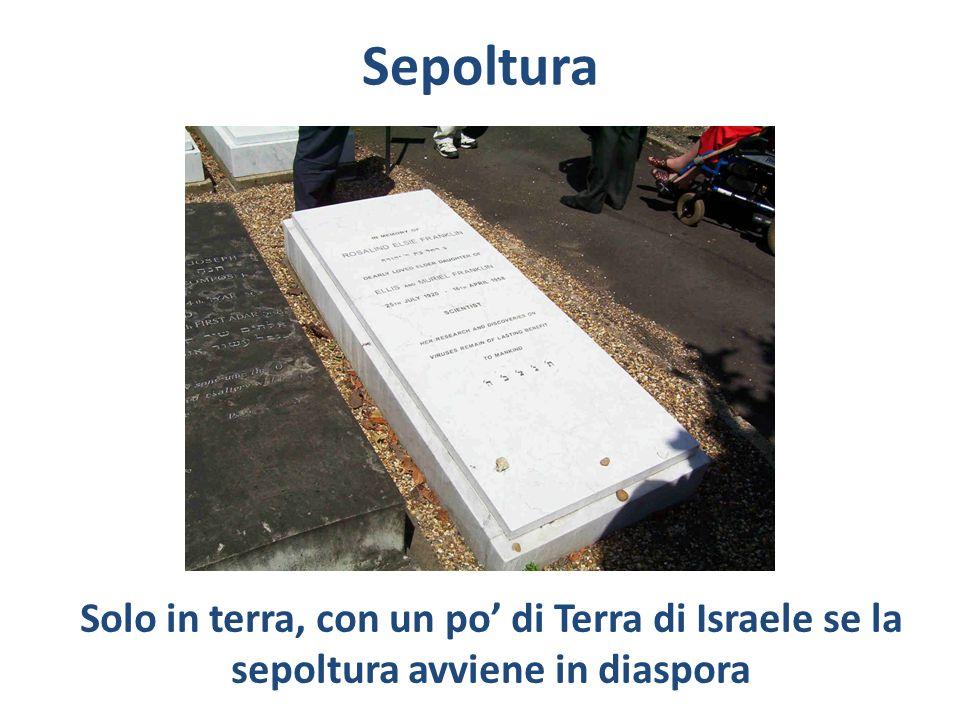 Sepoltura Solo in terra, con un po' di Terra di Israele se la sepoltura avviene in diaspora