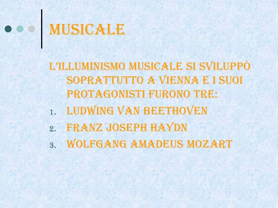 musicale L'illuminismo musicale si sviluppò soprattutto a Vienna e i suoi protagonisti furono tre: Ludwing van beethoven.