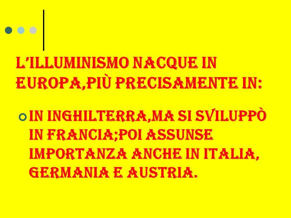 L'ILLUMINISMO NACQUE IN EUROPA,Più PRECISAMENTE IN: