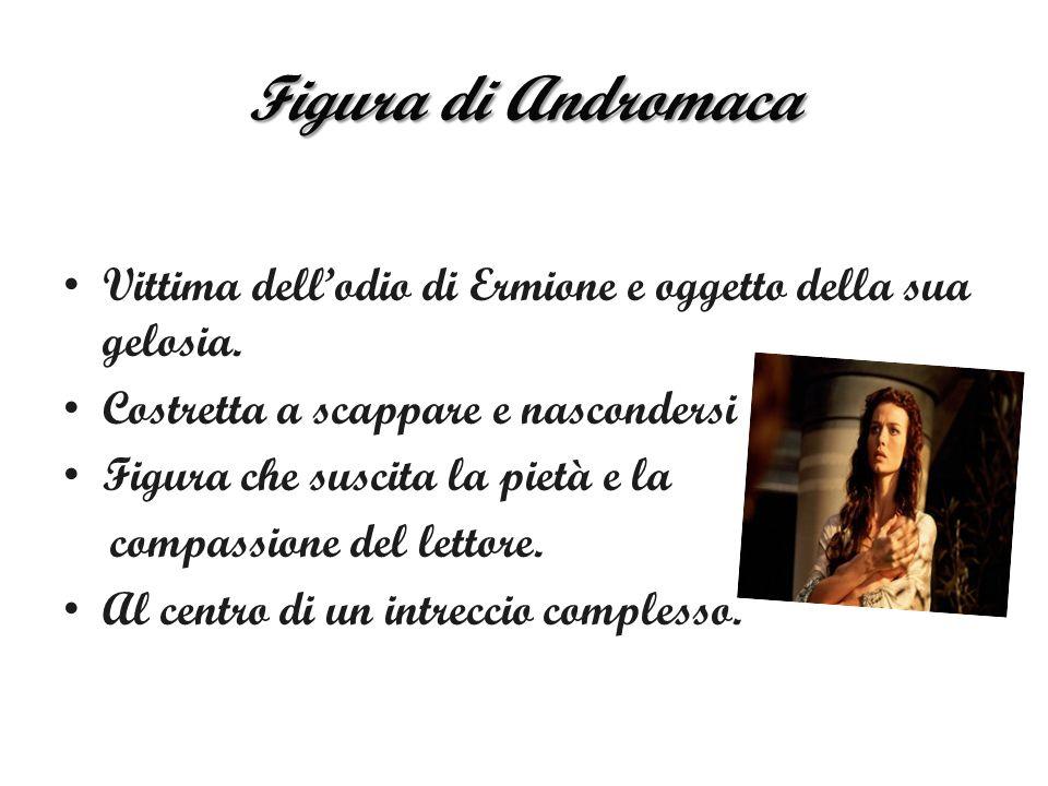 Figura di Andromaca Vittima dell'odio di Ermione e oggetto della sua gelosia. Costretta a scappare e nascondersi.