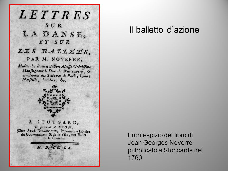 Il balletto d'azione Frontespizio del libro di Jean Georges Noverre
