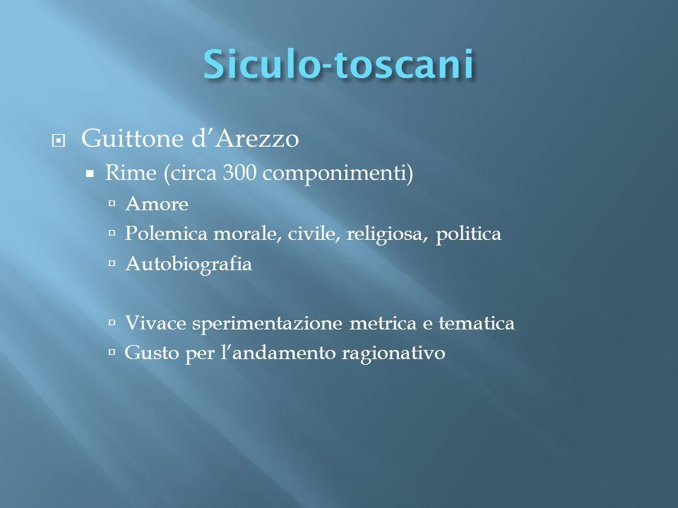 Siculo-toscani Guittone d'Arezzo Rime (circa 300 componimenti) Amore