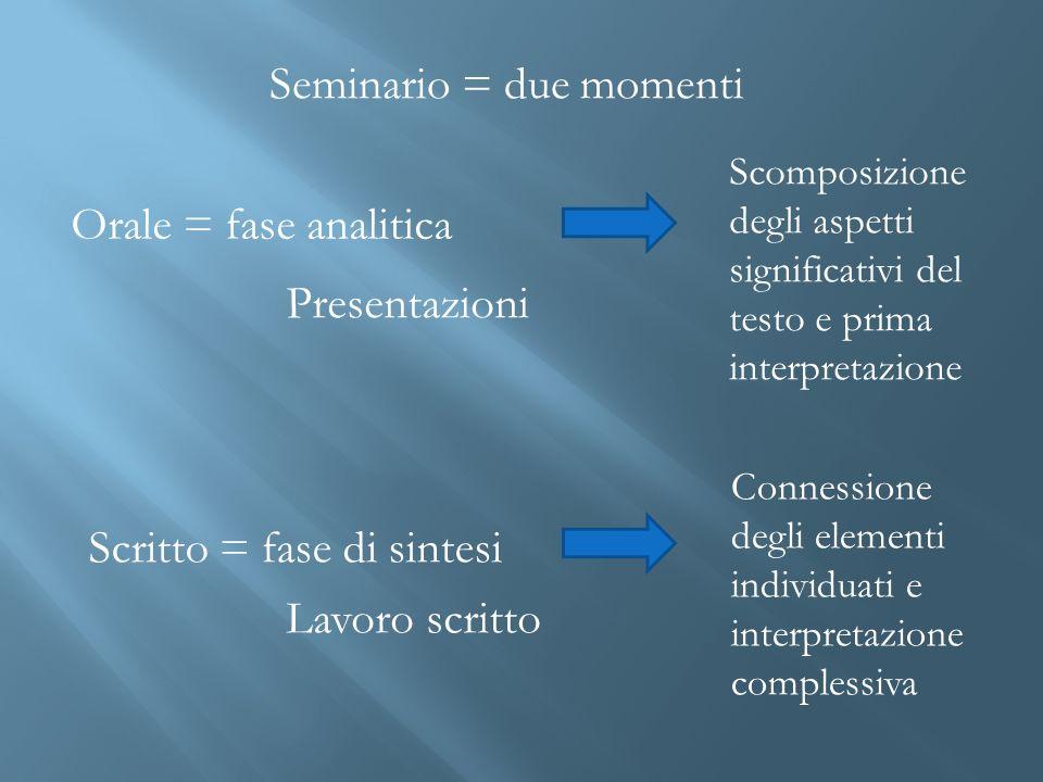 Seminario = due momenti