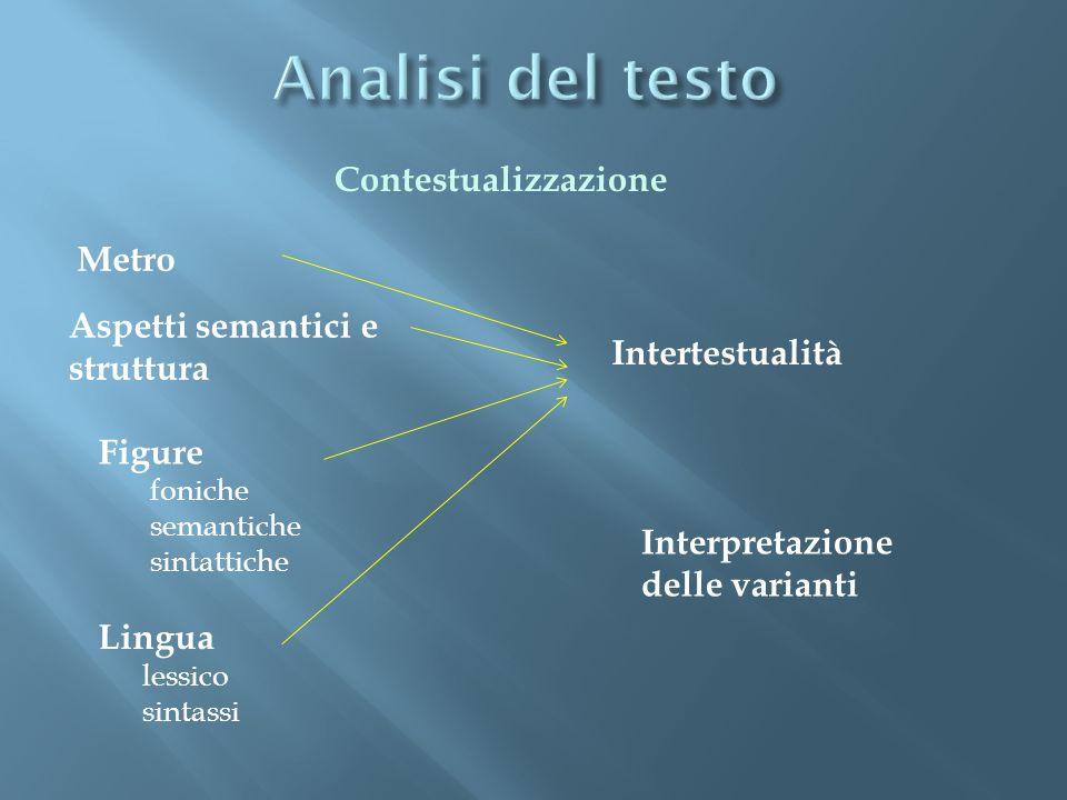 Analisi del testo Contestualizzazione Metro