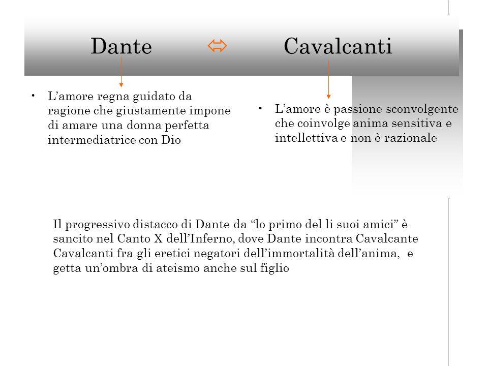 Dante  Cavalcanti L'amore regna guidato da ragione che giustamente impone di amare una donna perfetta intermediatrice con Dio.