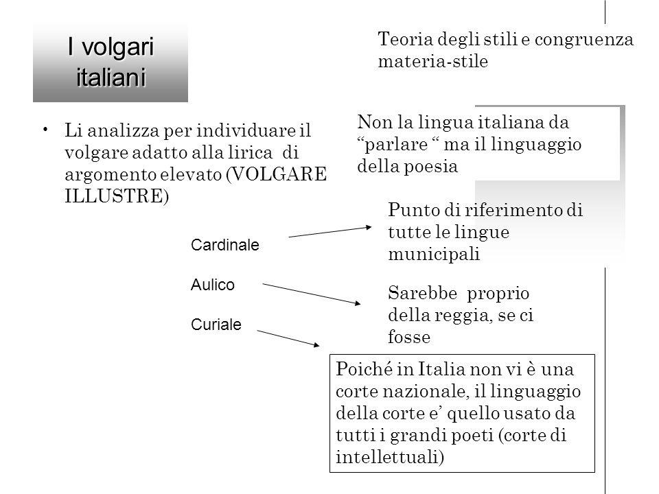 I volgari italiani Teoria degli stili e congruenza materia-stile