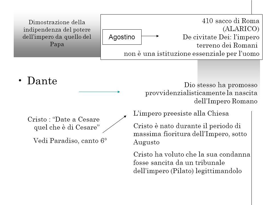 Dante 410 sacco di Roma (ALARICO) De civitate Dei: l'impero