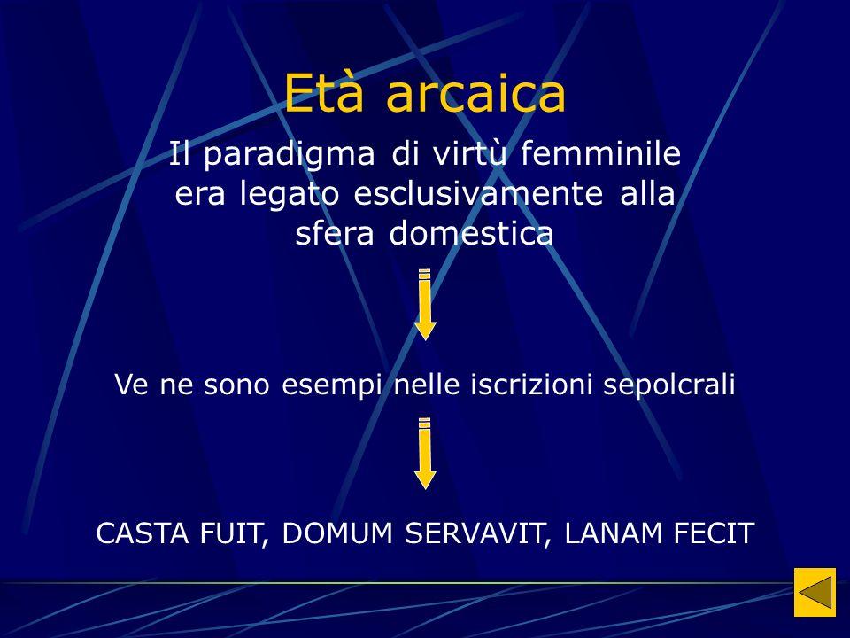 Età arcaica Il paradigma di virtù femminile era legato esclusivamente alla sfera domestica. Ve ne sono esempi nelle iscrizioni sepolcrali.