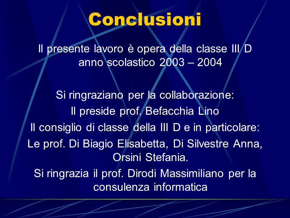 Conclusioni Il presente lavoro è opera della classe III D anno scolastico 2003 – 2004. Si ringraziano per la collaborazione: