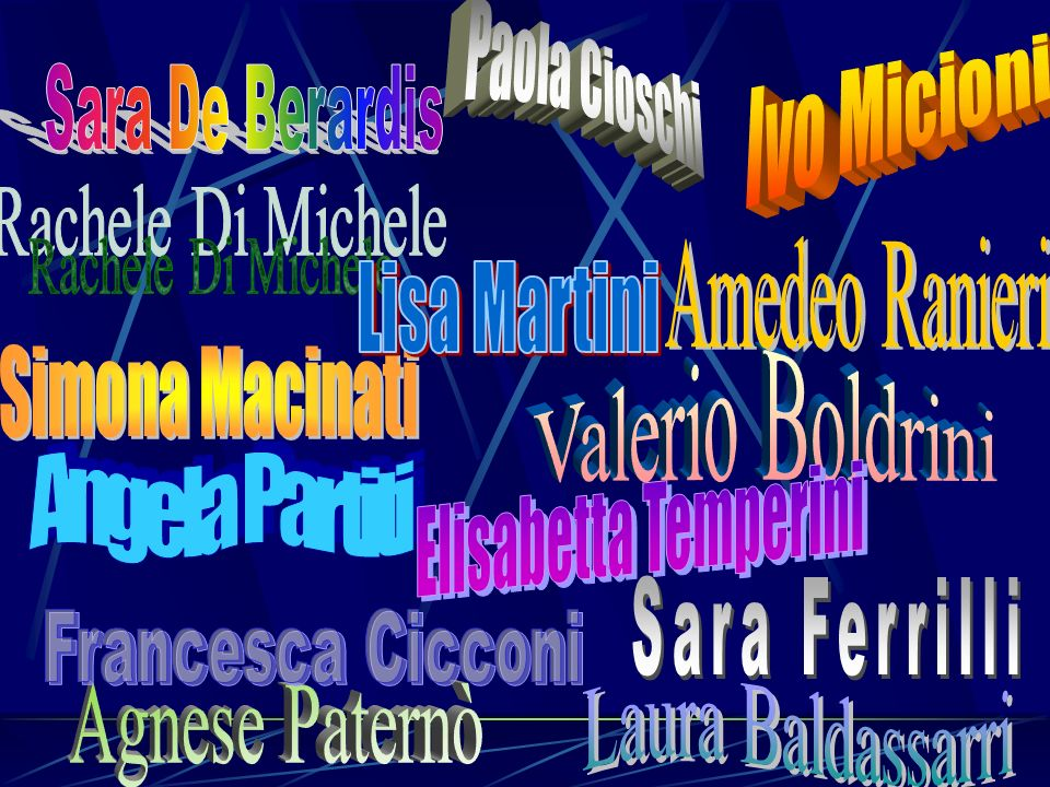Paola Cioschi Ivo Micioni. Sara De Berardis. Rachele Di Michele. Amedeo Ranieri. Lisa Martini. Simona Macinati.