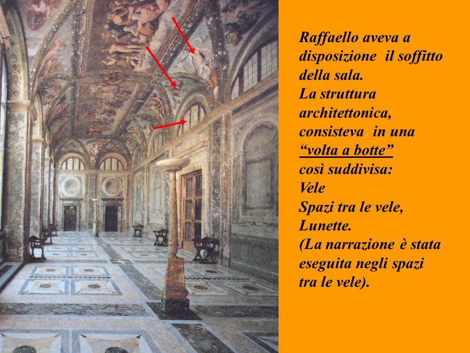 Raffaello aveva a disposizione il soffitto. della sala. La struttura. architettonica, consisteva in una.