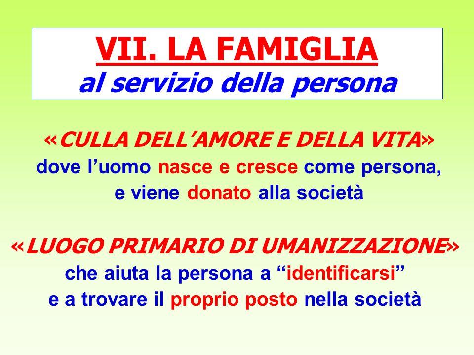VII. LA FAMIGLIA al servizio della persona
