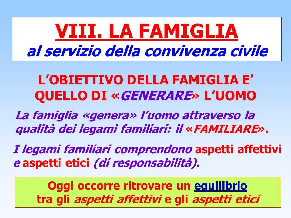 VIII. LA FAMIGLIA al servizio della convivenza civile