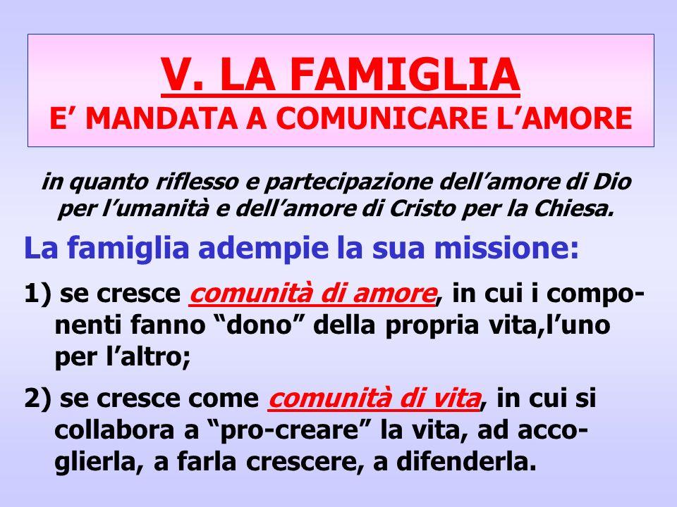 V. LA FAMIGLIA E' MANDATA A COMUNICARE L'AMORE