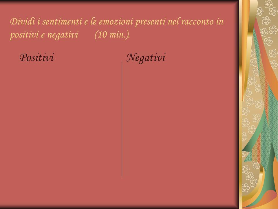 Dividi i sentimenti e le emozioni presenti nel racconto in positivi e negativi (10 min.).