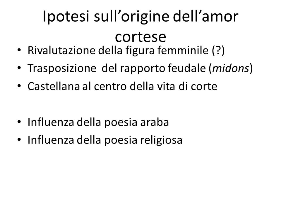 Ipotesi sull'origine dell'amor cortese