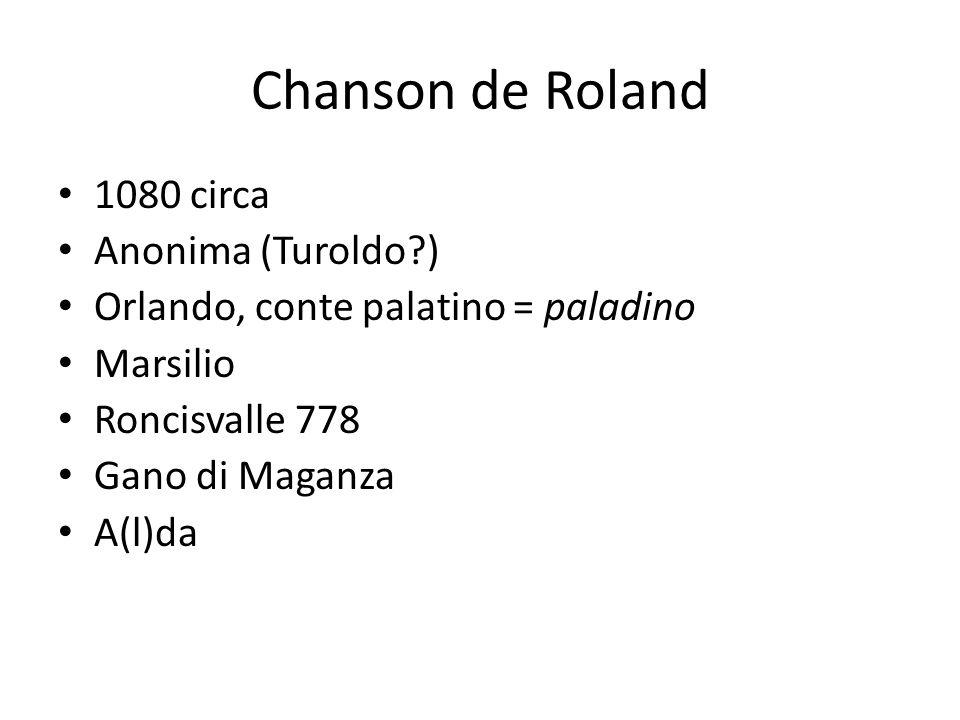 Chanson de Roland 1080 circa Anonima (Turoldo )