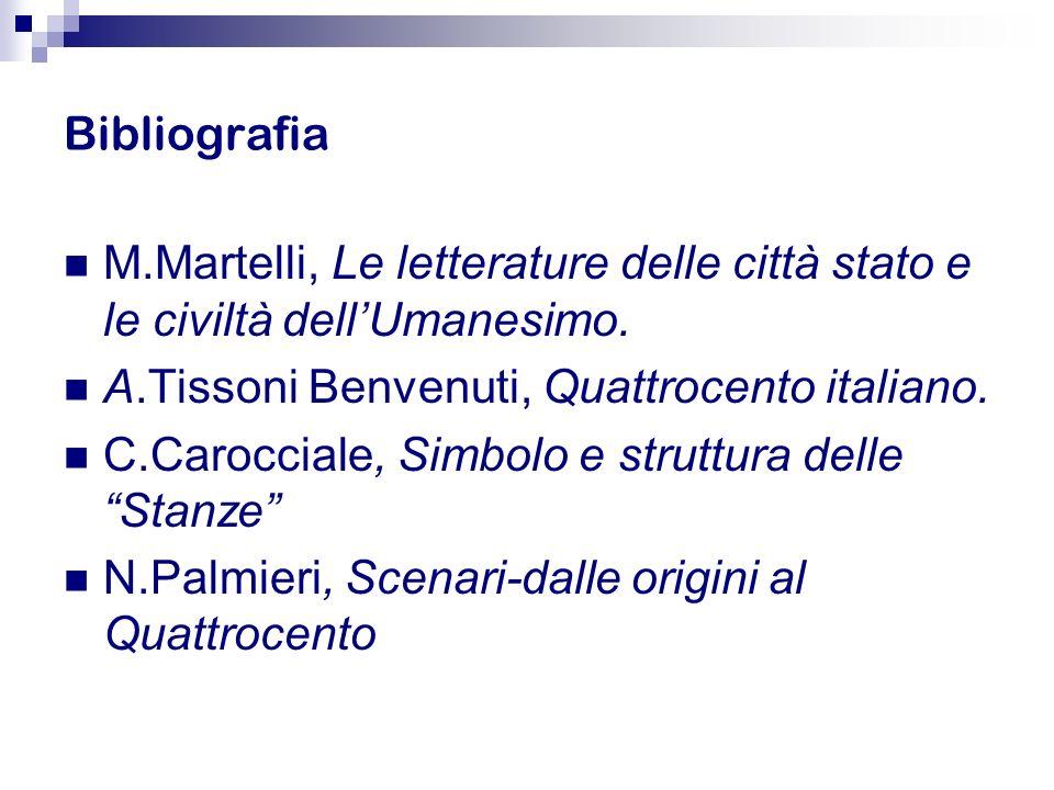 Bibliografia M.Martelli, Le letterature delle città stato e le civiltà dell'Umanesimo. A.Tissoni Benvenuti, Quattrocento italiano.