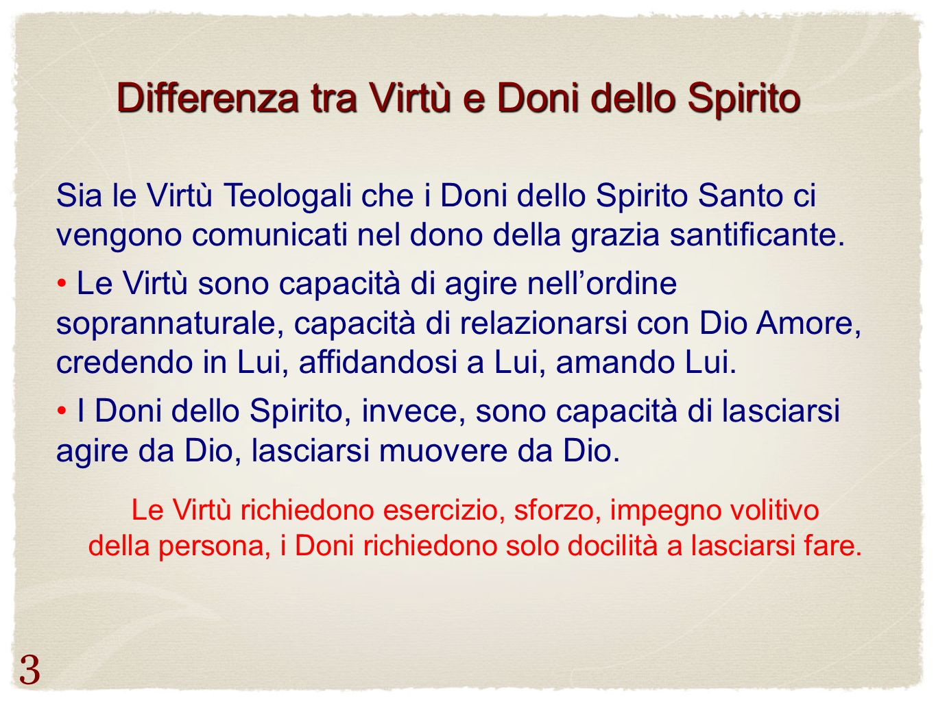 Differenza tra Virtù e Doni dello Spirito