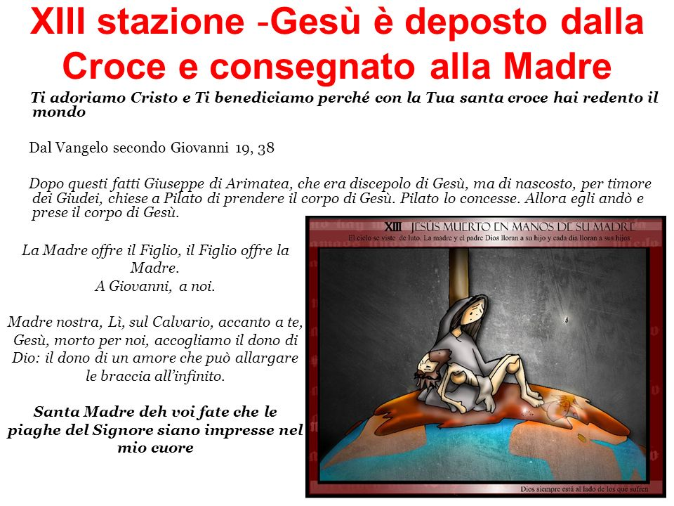 XIII stazione -Gesù è deposto dalla Croce e consegnato alla Madre