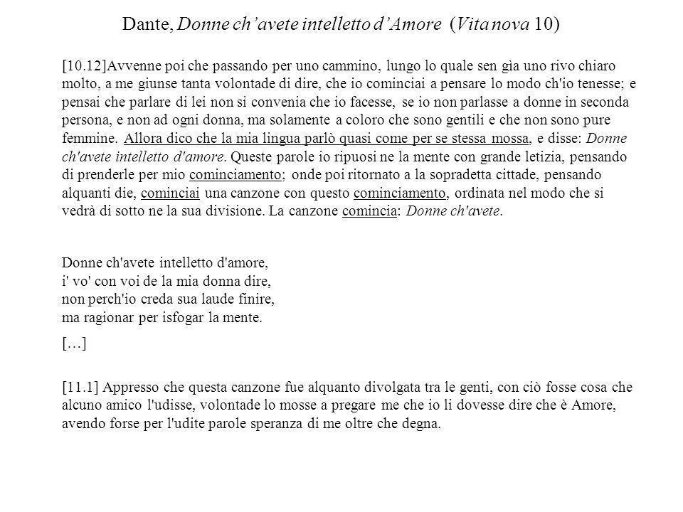 Dante, Donne ch'avete intelletto d'Amore (Vita nova 10)