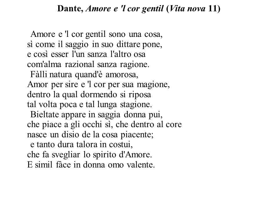 Dante, Amore e l cor gentil (Vita nova 11)