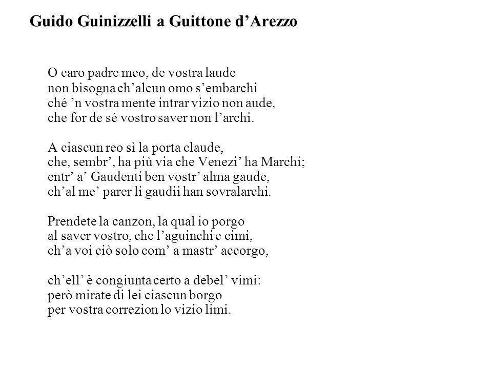 Guido Guinizzelli a Guittone d'Arezzo