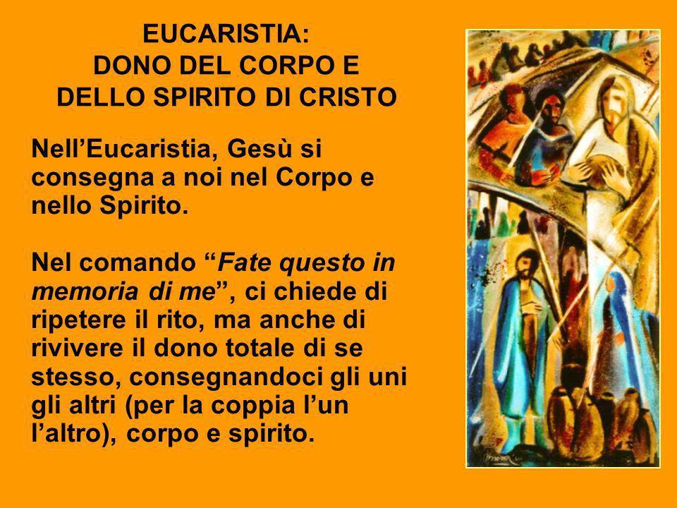 EUCARISTIA: DONO DEL CORPO E DELLO SPIRITO DI CRISTO