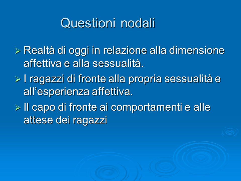 Questioni nodali Realtà di oggi in relazione alla dimensione affettiva e alla sessualità.
