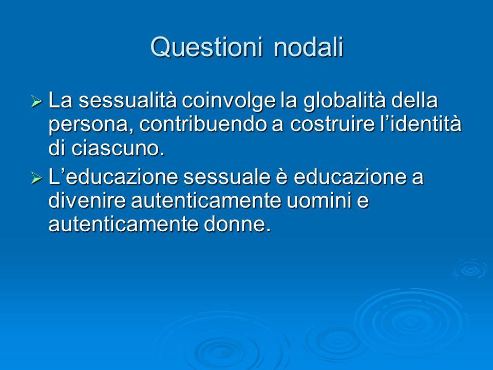 Questioni nodali La sessualità coinvolge la globalità della persona, contribuendo a costruire l'identità di ciascuno.