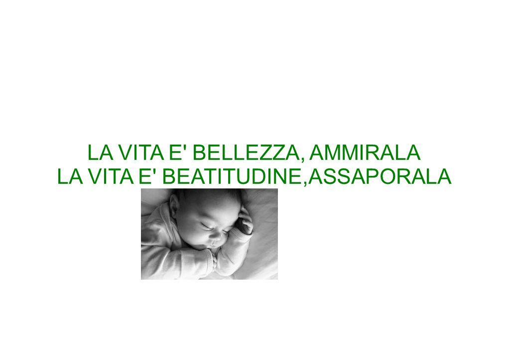 LA VITA E BELLEZZA, AMMIRALA LA VITA E BEATITUDINE,ASSAPORALA