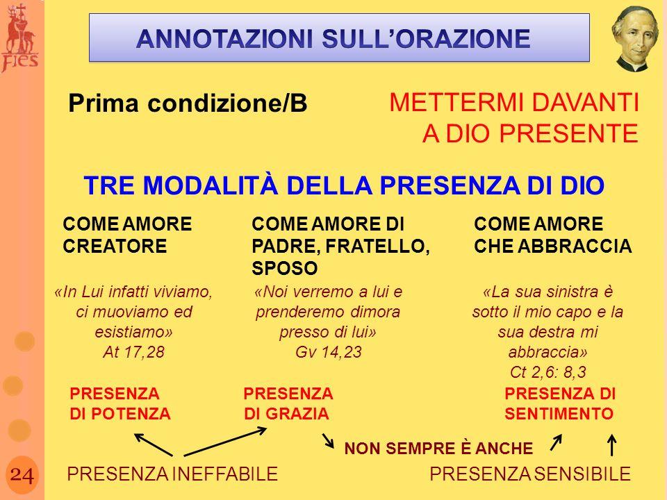 ANNOTAZIONI SULL'ORAZIONE TRE MODALITÀ DELLA PRESENZA DI DIO