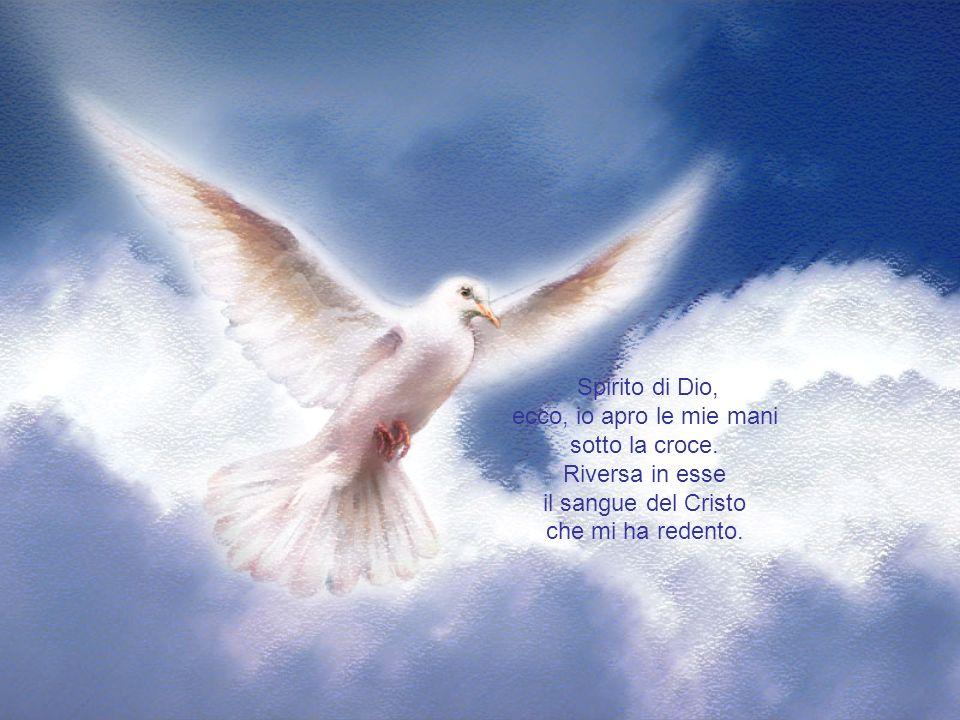 Spirito di Dio, ecco, io apro le mie mani. sotto la croce. Riversa in esse. il sangue del Cristo.
