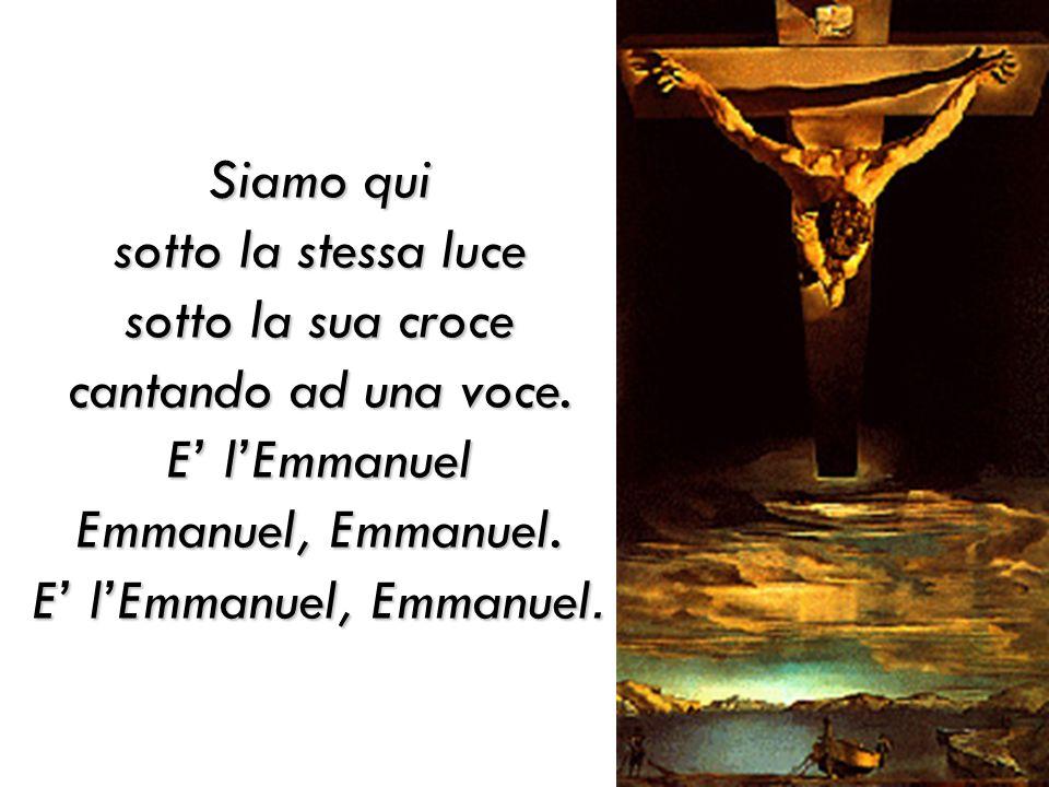 Siamo qui sotto la stessa luce sotto la sua croce cantando ad una voce