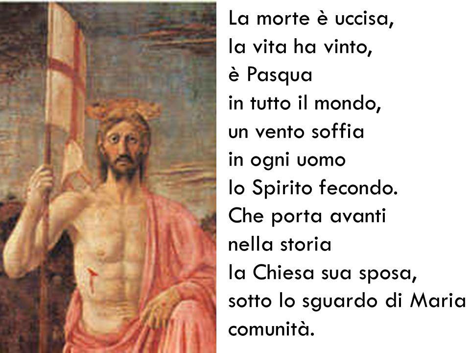 La morte è uccisa, la vita ha vinto, è Pasqua. in tutto il mondo, un vento soffia. in ogni uomo lo Spirito fecondo. Che porta avanti.