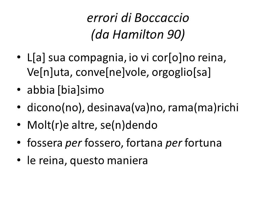 errori di Boccaccio (da Hamilton 90)