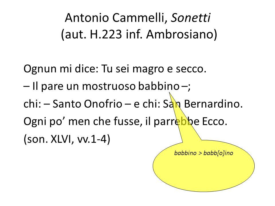 Antonio Cammelli, Sonetti (aut. H.223 inf. Ambrosiano)