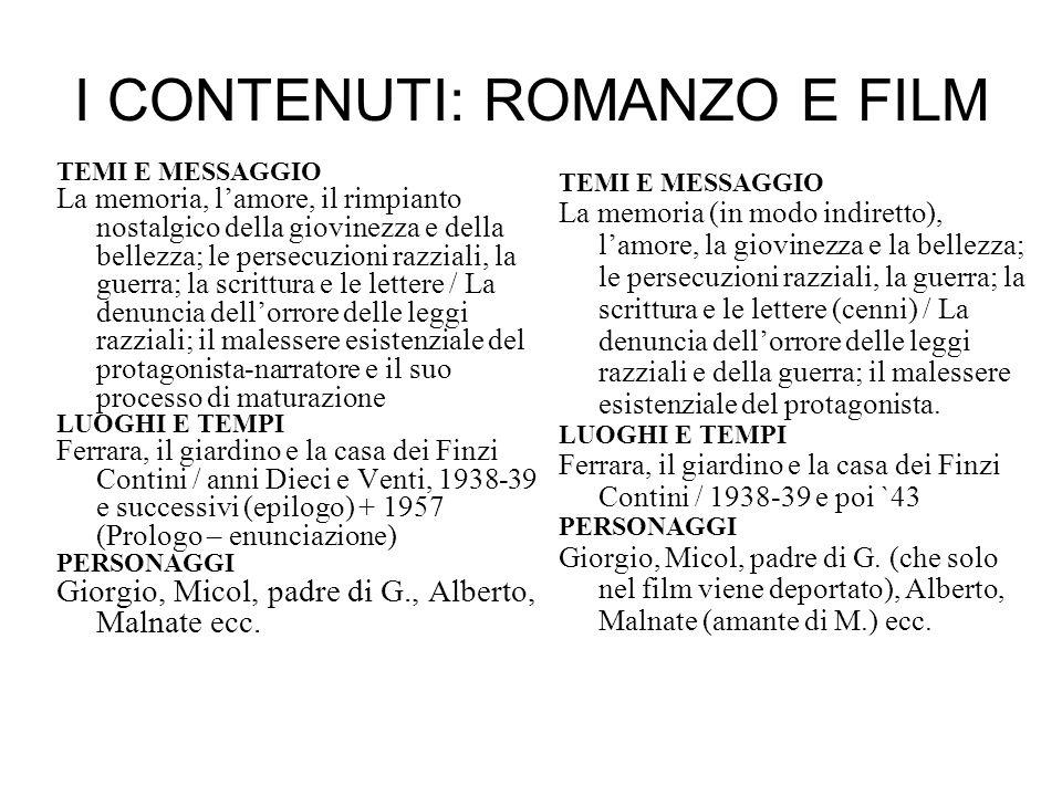 I CONTENUTI: ROMANZO E FILM