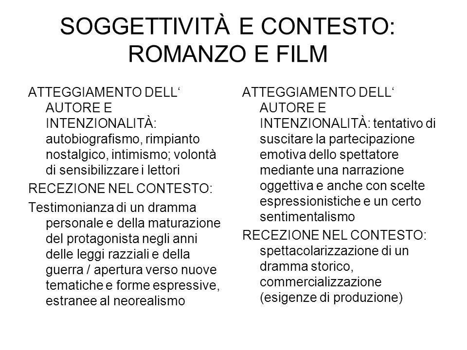 SOGGETTIVITÀ E CONTESTO: ROMANZO E FILM