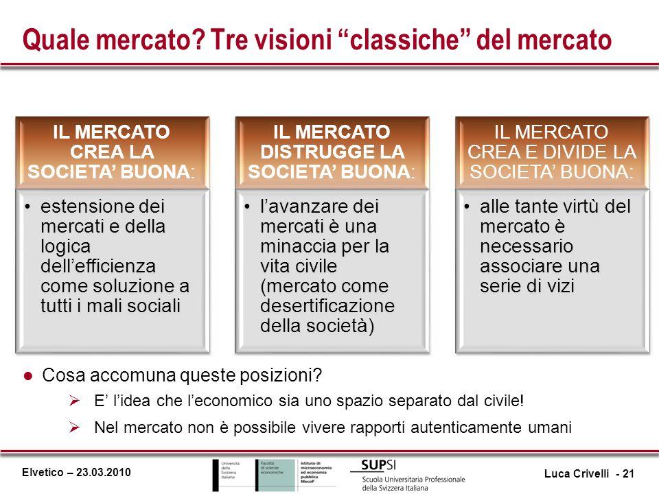 Quale mercato Tre visioni classiche del mercato