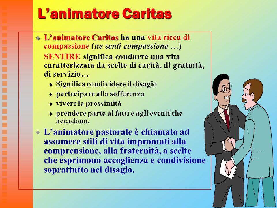 L'animatore Caritas L'animatore Caritas ha una vita ricca di compassione (ne sentì compassione …)
