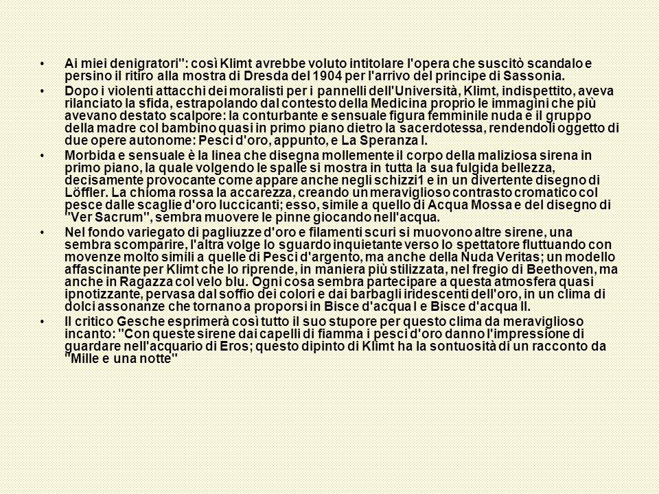 Ai miei denigratori : così Klimt avrebbe voluto intitolare l opera che suscitò scandalo e persino il ritiro alla mostra di Dresda del 1904 per l arrivo del principe di Sassonia.