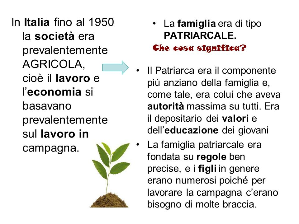 In Italia fino al 1950 la società era prevalentemente AGRICOLA, cioè il lavoro e l'economia si basavano prevalentemente sul lavoro in campagna.
